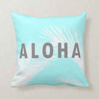 Blått för palmträd för hawaiiboAloha grå Kudde
