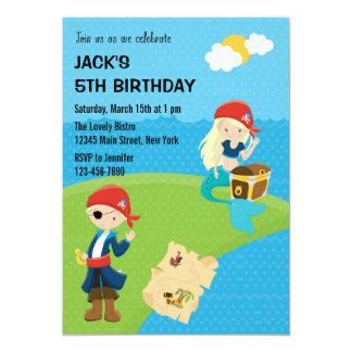 Blått för pirat- och sjöjungfrufödelsedaginbjudan 12,7 x 17,8 cm inbjudningskort