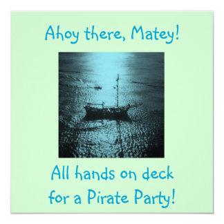 Blått för piratpartyinbjudningar fyrkantigt 13,3 cm inbjudningskort