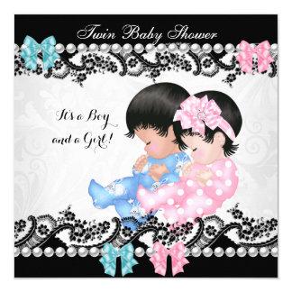 Blått för pojke för tvilling- flicka för baby fyrkantigt 13,3 cm inbjudningskort