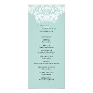 Blått för program för elegant bröllop för vitsnöre 10,2 x 23,5 cm inbjudningskort