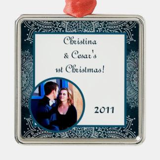 Blått för prydnad för personlig beställnings- silverfärgad fyrkantigt julgransprydnad