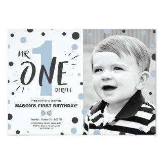 Blått för svart för pojke för Herr onederful 12,7 X 17,8 Cm Inbjudningskort