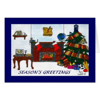 Blått för TSSB-julaftonkort Hälsningskort