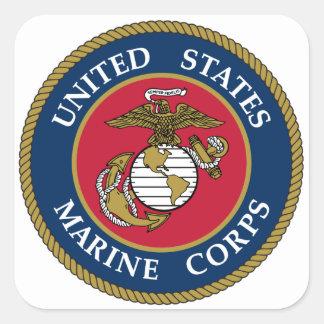 Blått för US-marinkorpralklistermärke Fyrkantigt Klistermärke