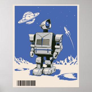 Blått för vintagerobot 1 poster