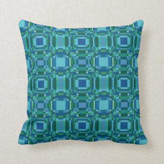 Blått geometriska gröna Pixelated Kudde