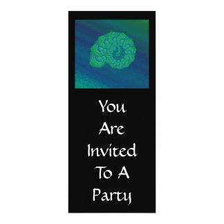 Blått gröntsnäcka. Abstrakt konstdesign 10,2 X 23,5 Cm Inbjudningskort