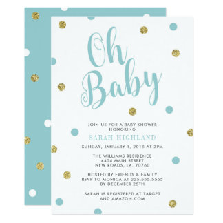 Blått & guld- glitterOh baby shower 12,7 X 17,8 Cm Inbjudningskort
