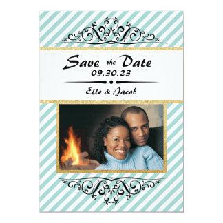 Blått/guld- spara datera - fotokort för lägenhet 12,7 x 17,8 cm inbjudningskort
