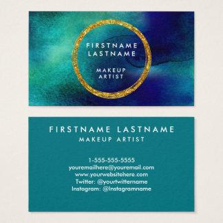 Blått- & guldvattenfärgsalong och Makeupkonstnär Visitkort