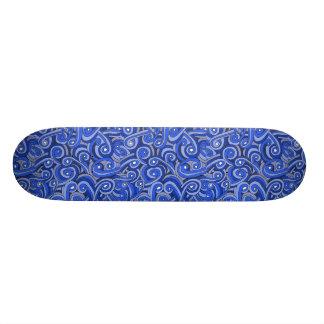 Blått klottrad design på skateboarden old school skateboard bräda 18 cm