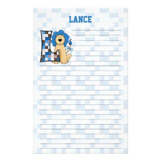 "Blått lejona Mongram ""L"" fodrad brevpapper"