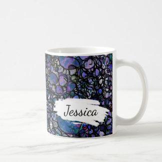 Blått, lilor & svartabstrakt, penseldrag & namn kaffemugg