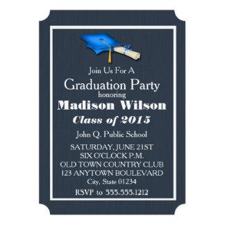 Blått med vitstudentkort 12,7 x 17,8 cm inbjudningskort