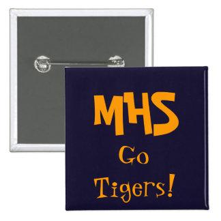 blått MHS, går tigrar! Standard Kanpp Fyrkantig 5.1 Cm