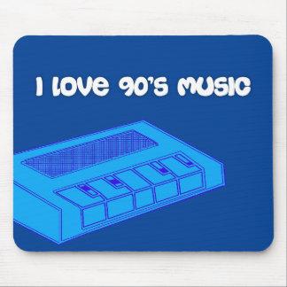 Blått MouseMat älskar jag den 90-talmusikMousepad Musmatta