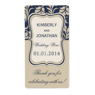 Blått och beige för etikett för bröllopvinflaska fraktsedel
