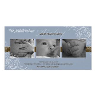 Blått- och bruntbabymeddelande fotokort