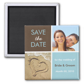 Blått och bruntfotospara datum magneter