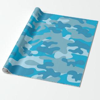 Blått och grå Camo design Presentpapper