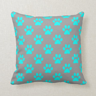 Blått- och grå färgtassmönster kudde