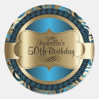 Blått och guld virvlar runt abstrakt födelsedag runt klistermärke