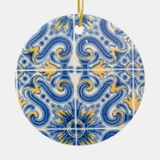 Blått och gult belägger med tegel, Portugal Julgransprydnad Keramik