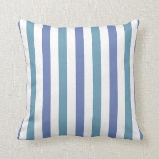 Blått och Jade och randig dekorativ kudde för vit