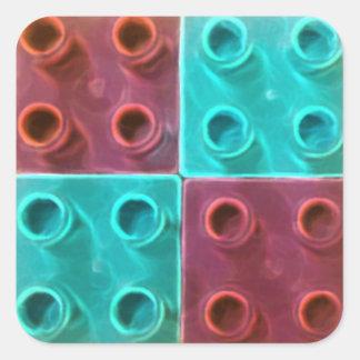Blått och lilor som bygger kvarter fyrkantigt klistermärke