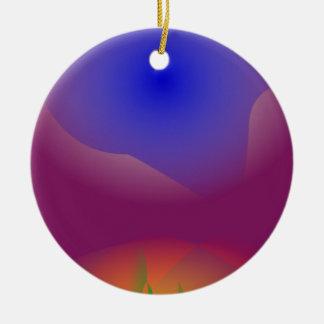Blått och orange i ren druvafruktsaft rund julgransprydnad i keramik