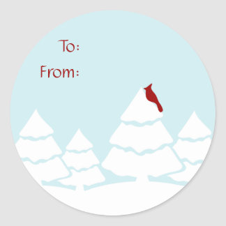 Blått och röd huvudsaklig juletiketter runt klistermärke