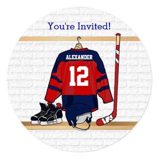 Blått och röd ishockeyJersey födelsedagsfest Fyrkantigt 13,3 Cm Inbjudningskort