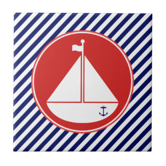 Blått och röd segelbåt kakelplatta
