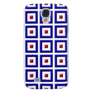 Blått och röda heltäckande kvadrerar det Samsung f Galaxy S4 Fodral
