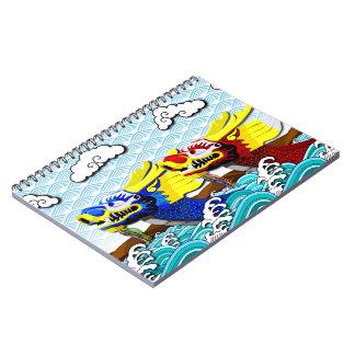 Blått och röda kinesiska drakar - anteckningsbok med spiral