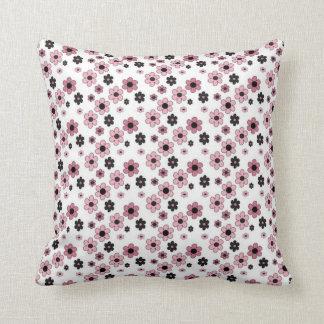 Blått- och rosablommigt kudde