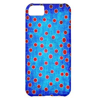 Blått och rött pricker fodral iPhone 5C fodral