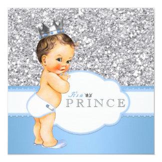 Blått och silver för vintagePrince baby shower Fyrkantigt 13,3 Cm Inbjudningskort