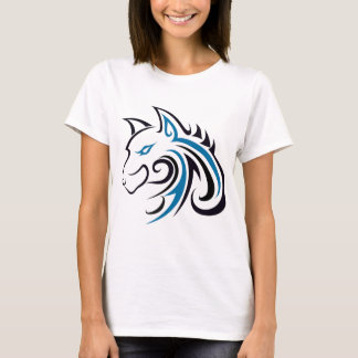 Blått- och svartvarghuvudet skisserar t shirts