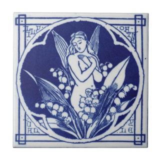 Blått och vit belägger med tegel vintagedesign för liten kakelplatta