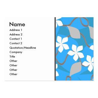 Blått- och vitblommor. Blom- modell Set Av Breda Visitkort