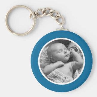 Blått- och vitfoto Keychain Rund Nyckelring