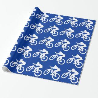 Blått- och vitmountainbike presentpapper