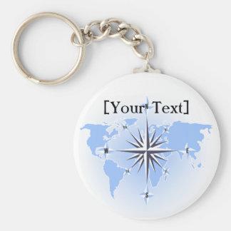 Blått omringar den rosa världskartan Keychain Rund Nyckelring