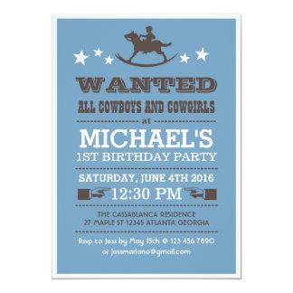Blått önskade western Cowboyfödelsedaginbjudan 12,7 X 17,8 Cm Inbjudningskort