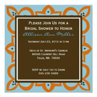 Blått, orange och brun inbjudan