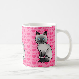 Blått pekar Birman/Ragdoll kattkärlek Kaffemugg