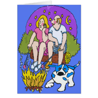 Blått pricker hunden, läger avfyrar kärlek hälsningskort