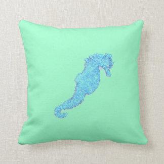 Blått pryder med pärlor havshästen kudder kudde
